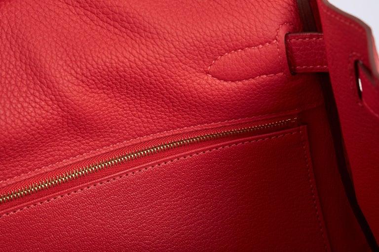 New Hermès Rouge Pivoine Togo 32cm Kelly Bag in Box 7