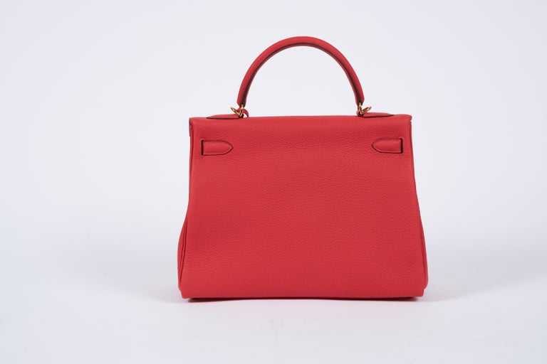 Red New Hermès Rouge Pivoine Togo 32cm Kelly Bag in Box
