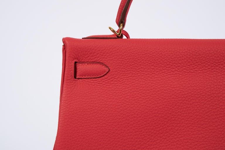 New Hermès Rouge Pivoine Togo 32cm Kelly Bag in Box 1