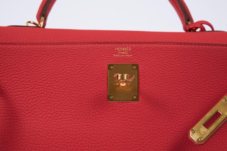 New Hermès Rouge Pivoine Togo 32cm Kelly Bag in Box 2