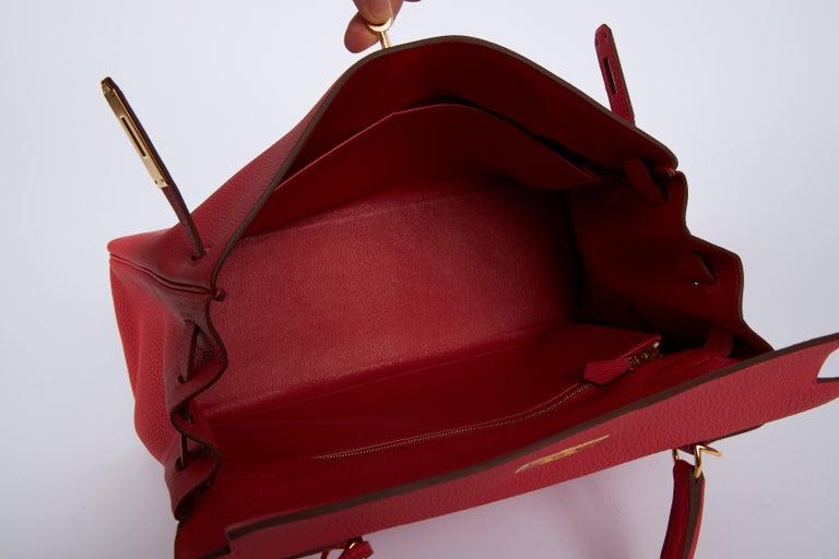 New Hermès Rouge Pivoine Togo 32cm Kelly Bag in Box 4