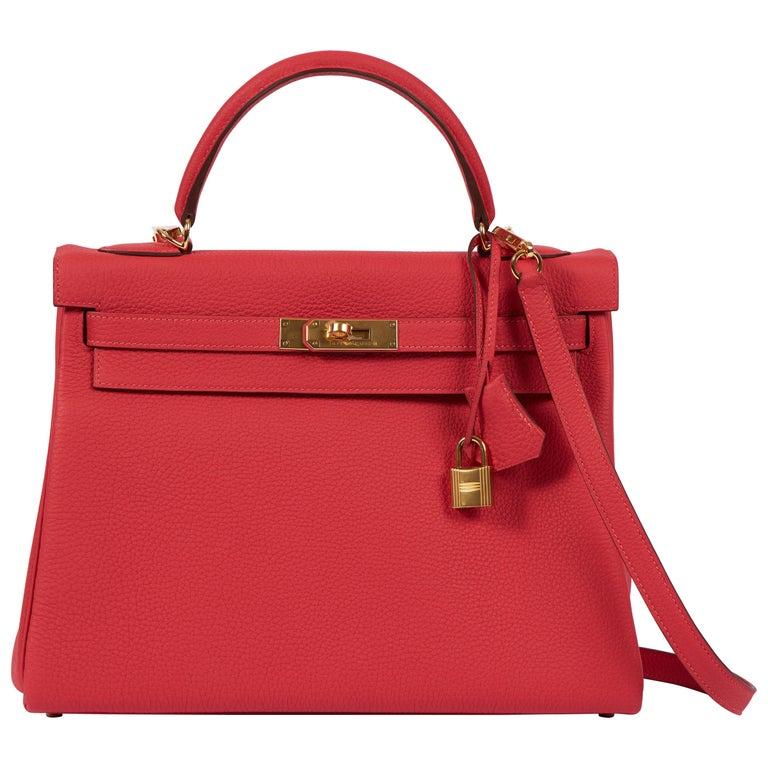 New Hermès Rouge Pivoine Togo 32cm Kelly Bag in Box