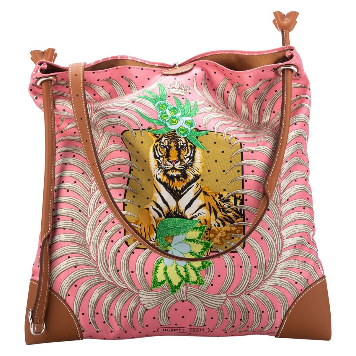 New Hermes Silk Barenia Leather Tiger Bag