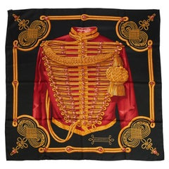 New Hermes Silk Brandebourgs Black Gold Scarf