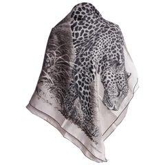 New Hermes Silk Panthera Black White 100% Silk Shawl
