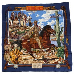 New Hermes Silk Pony Express Blue Celeste Scarf