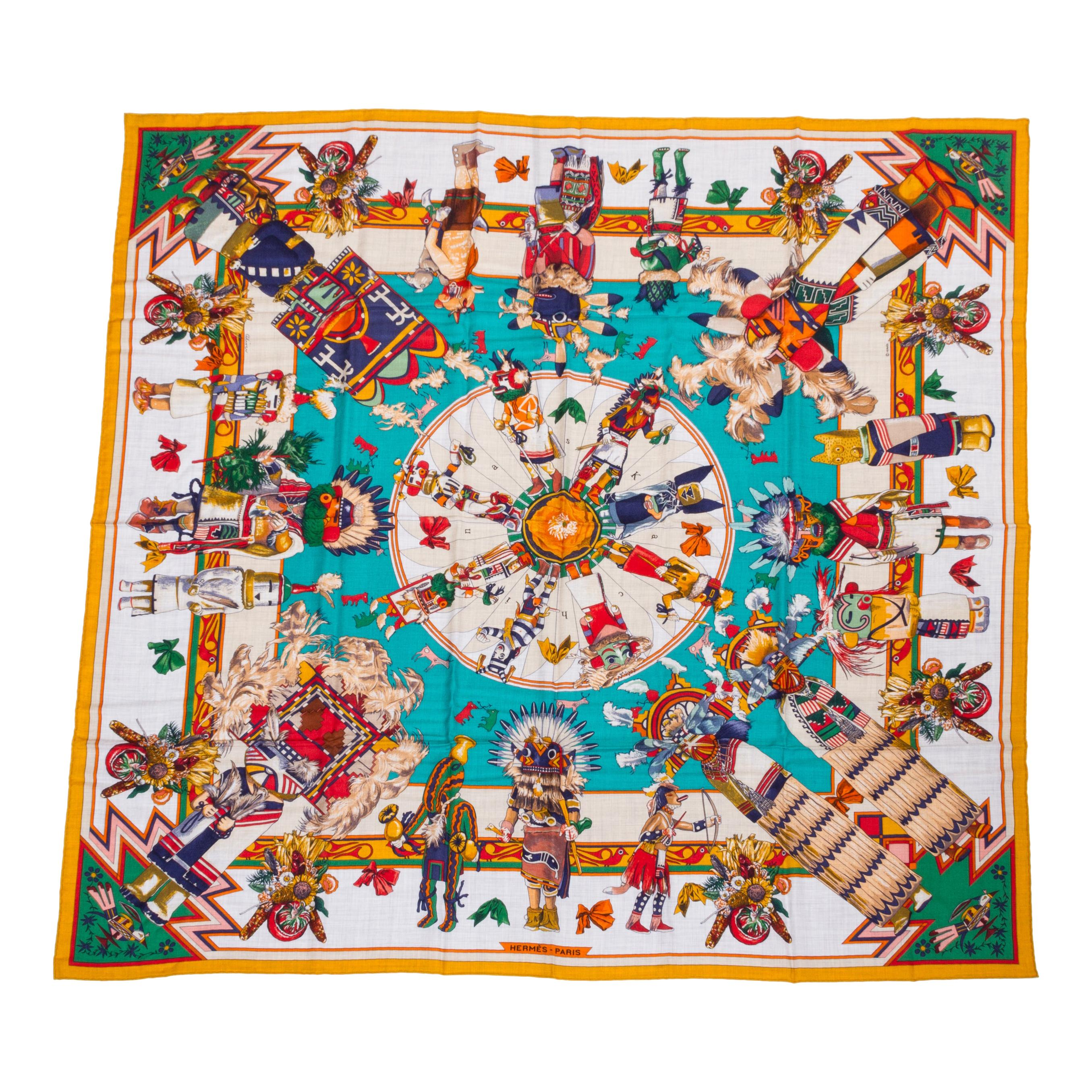 "New Hermes Teal Cashmere 55"" Kachinas Shawl Scarf by Kermit Oliver in Box"