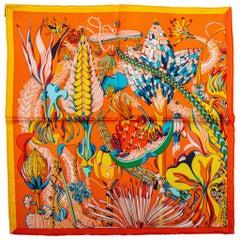 "New Hermes Tropical Flowers Orange Gavroche 16.5"" Scarf"