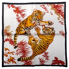New Hermes White Tiger Cubs Small Scarf in Box