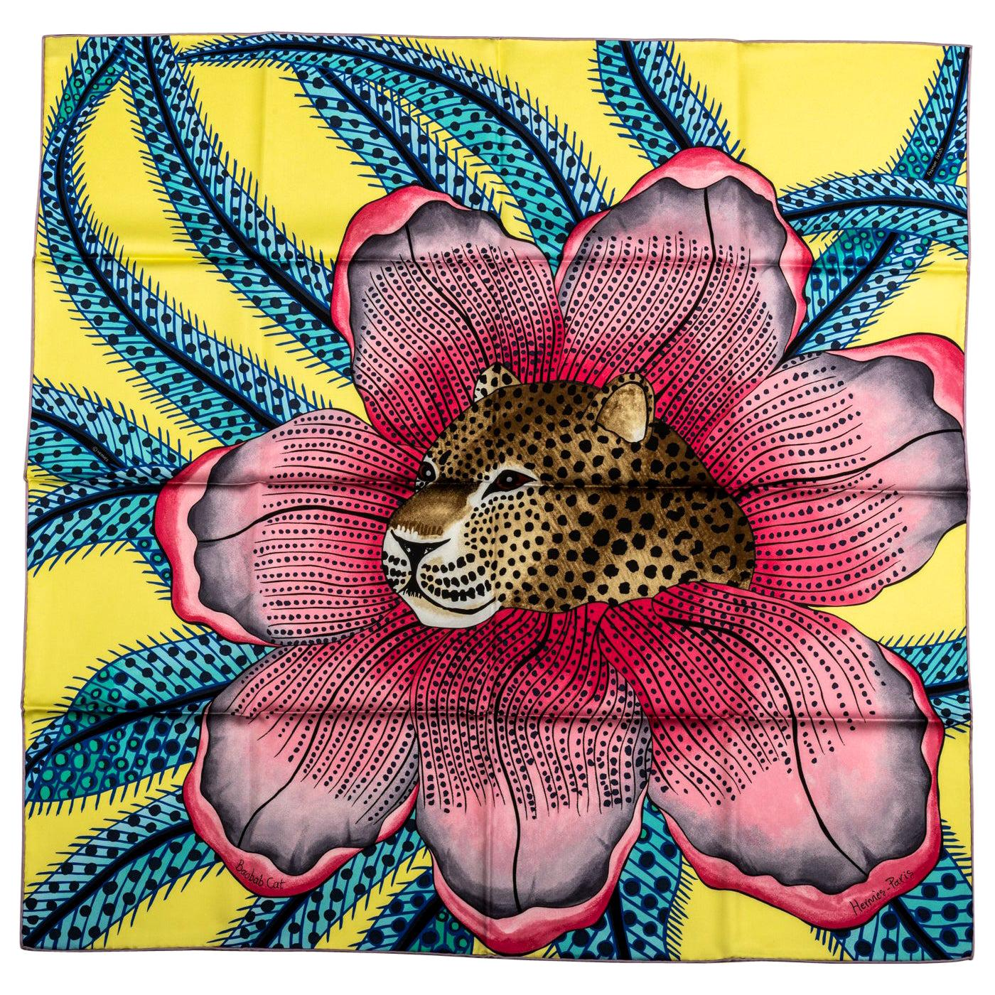 New Hermes Yellow PInk Jaguar Silk Scarf