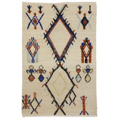 New High and Low Texture Moroccan Rug, Tribal Accent Rug with Two-Layers