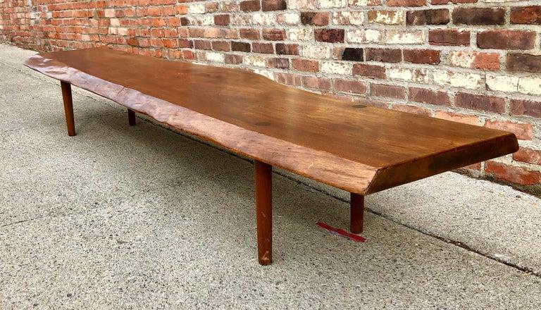 Mid-Century Modern New Hope School Black Walnut Table/Bench For Sale