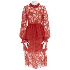 new HUISHAN ZHANG red lace tiered skirt nude lining cocktail dress US6 M