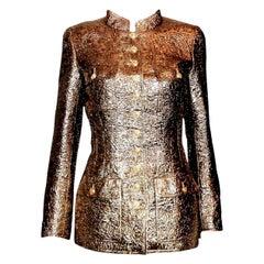 NEW  Iconic Chanel Golden Metallic 3D Structured Jacket Blazer