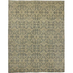 New Ikat Area Rug with Transitional Style