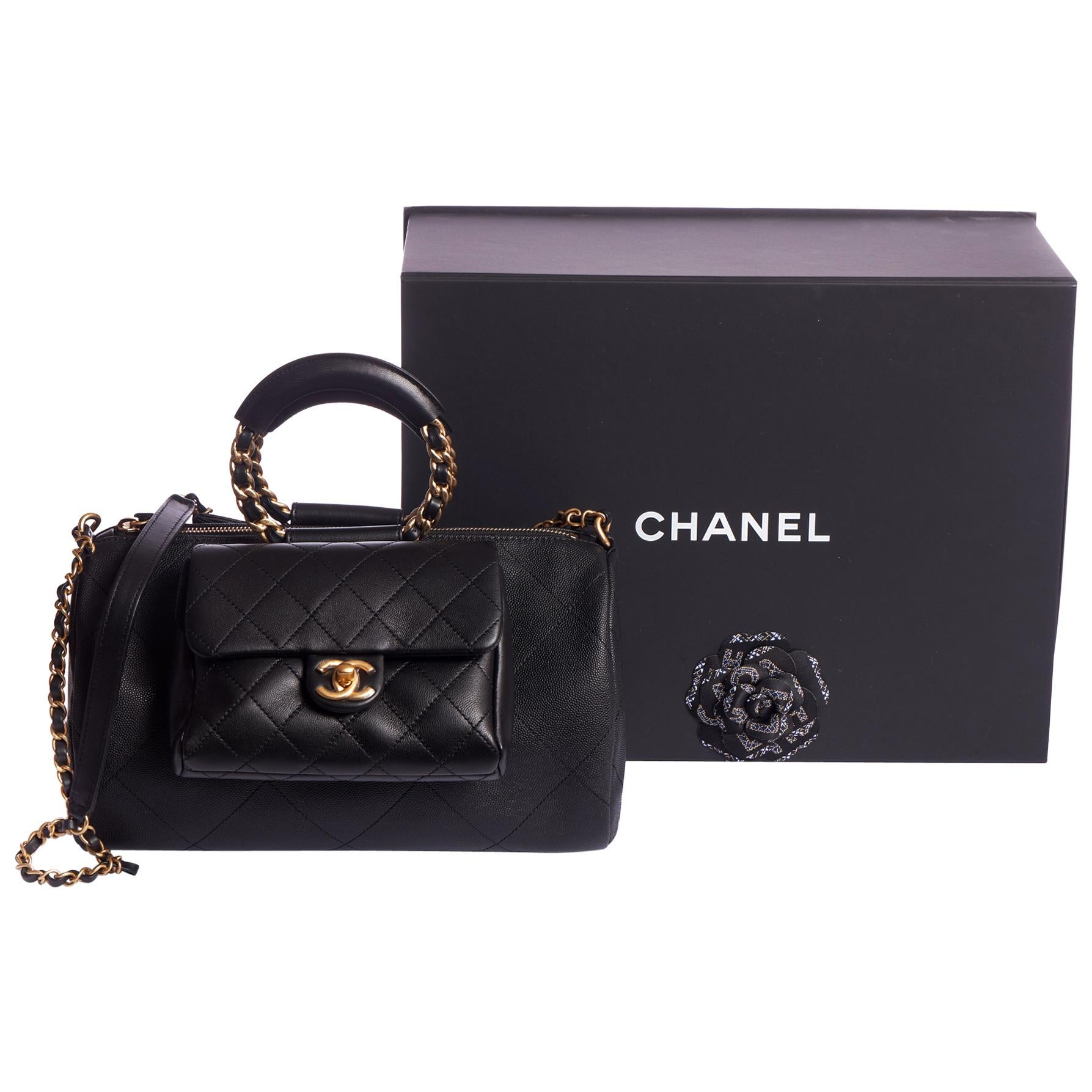 New in Box Chanel 2 Way Black Caviar Handbag