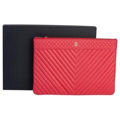 New in Box Chanel Coral Caviar Chevron Clutch Bag