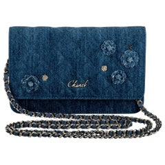 New in Box Chanel Denim Camellia Crossbody Bag