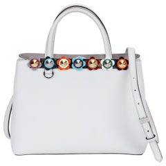 New in Box Fendi White Leather Handbag with Colored Flowers