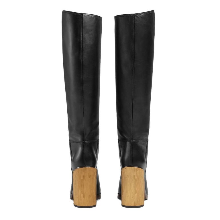 NEW in box Gucci Black Lifford Leather Gold Tone Stripe Metallic Boots sz EU37.5 In New Condition For Sale In Brossard, QC