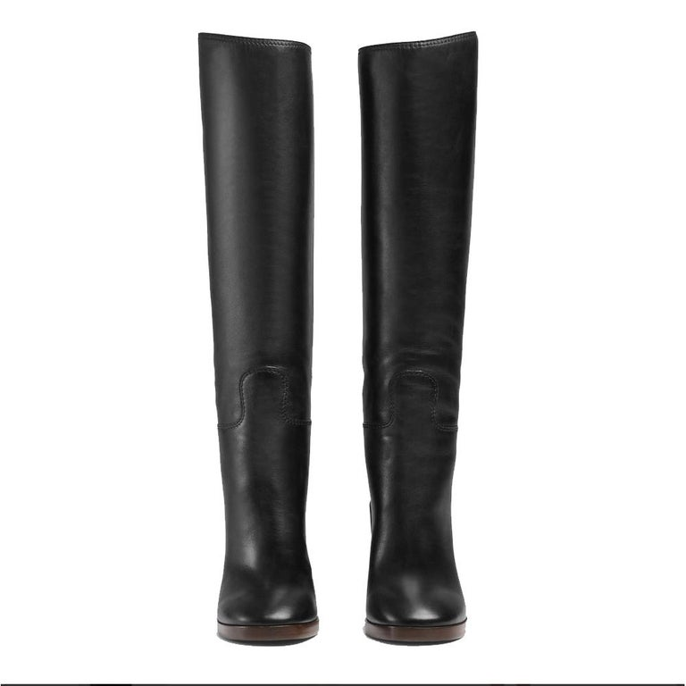 Women's NEW in box Gucci Black Lifford Leather Gold Tone Stripe Metallic Boots sz EU37.5 For Sale