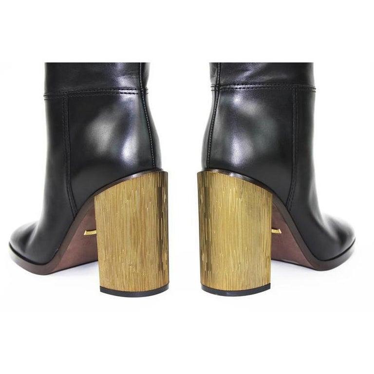 NEW in box Gucci Black Lifford Leather Gold Tone Stripe Metallic Boots sz EU37.5 For Sale 1