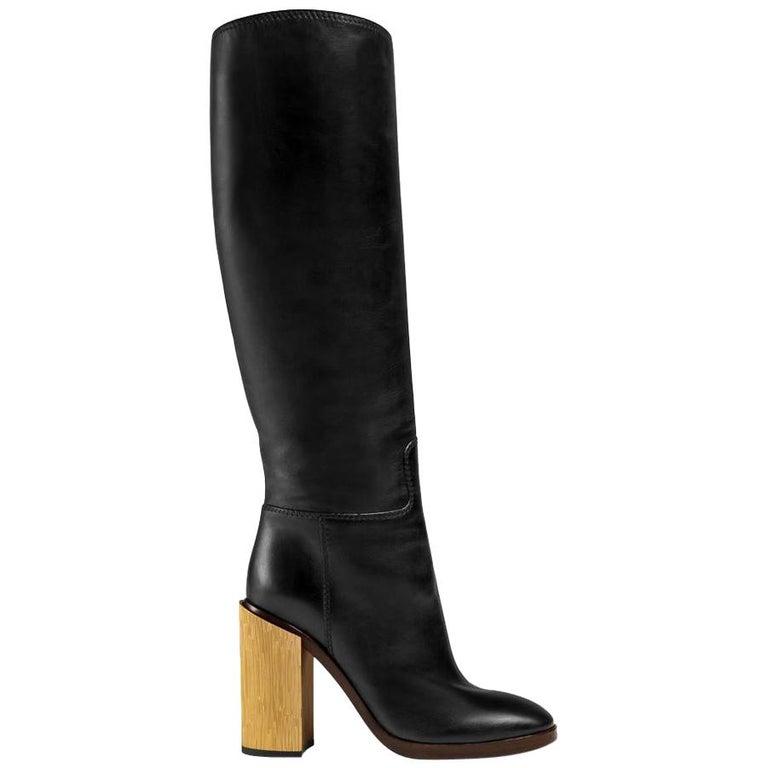 NEW in box Gucci Black Lifford Leather Gold Tone Stripe Metallic Boots sz EU37.5 For Sale