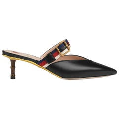 NEW in box Gucci Leather Mule Pumps with Bamboo Heel sz EU39.5