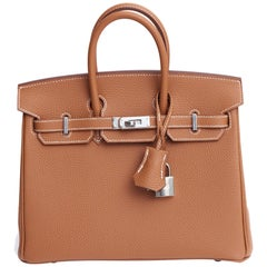 New in Box  Hermes Birkin 25 Togo Gold/Palladio Bag