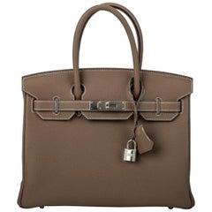 New in Box Hermes Birkin 30cm Etoupe Togo Bag