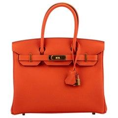 New in Box Hermes Birkin 30cm Feu Togo Gold Bag
