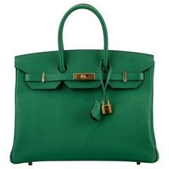 New in Box Hermes Birkin 35Cm Cactus Togo Gold Bag