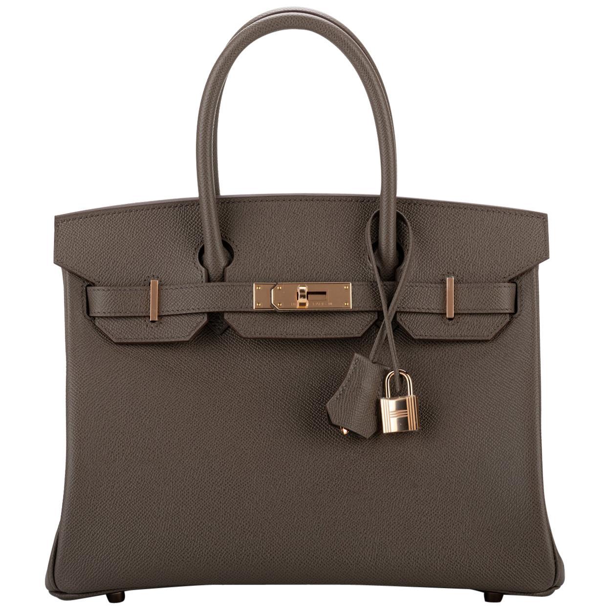 New in Box Hermes Birkin Etain Rose Gold Epsom Bag