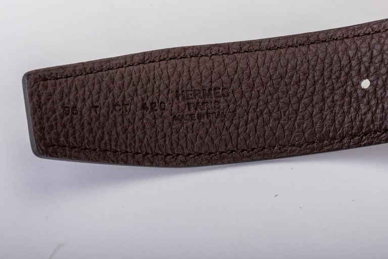 New in Box Hermes Black & Brown H Belt Size 95 In New Condition For Sale In West Hollywood, CA
