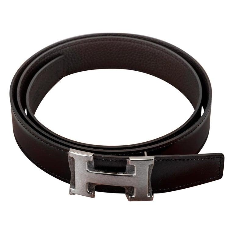 New in Box Hermes Black & Brown H Belt Size 95 For Sale