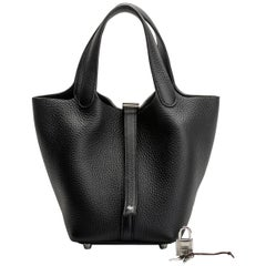 New in Box Hermes Black Clemence Picotin PM