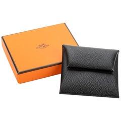 New in Box Hermès Black Epsom Coin Case