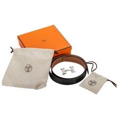 New in Box Hermes Black Gold Unisex Leather Belt 100cm