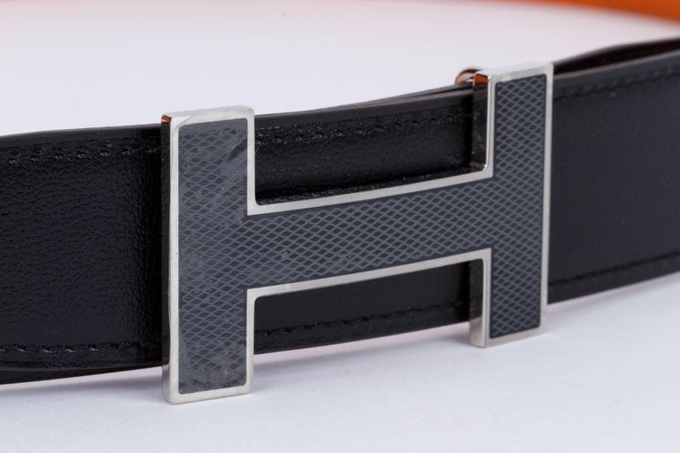 Women's or Men's New in Box Hermes Black Orange Unisex H Belt For Sale