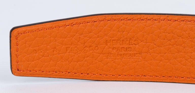 New in Box Hermes Black Orange Unisex H Belt For Sale 1