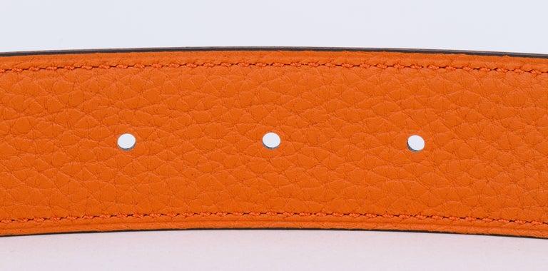 New in Box Hermes Black Orange Unisex H Belt For Sale 2