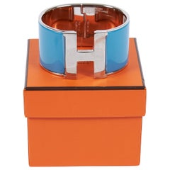 New in Box Hermes  BLue Ciel Mega Clic Clac