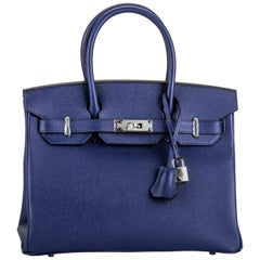 New in Box Hermes Blue Encre Birkin 30 Bag