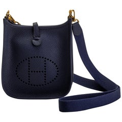 New in Box Hermes Blue Encre Mini Evelyne Crossbody Bag