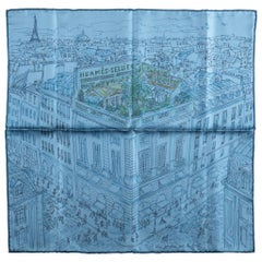 New in Box Hermes Blue Le Jardin Silk Gavroche Scarf