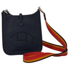 New in Box Hermes Blue Nuit Mini Evelyne Crossbody Bag