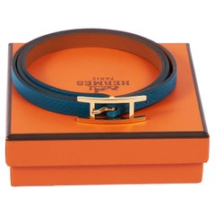 New in Box Hermes Blue Paon Gold 4 Wraps Bracelet