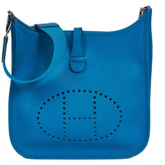 New In Box Hermes Blue Zellige Evelyne PM Bag