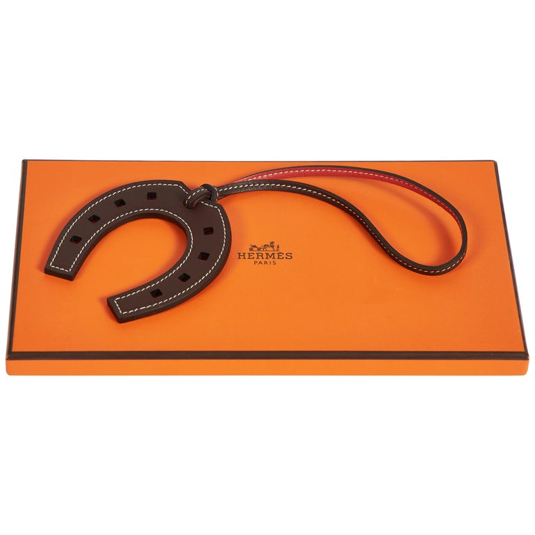 New in Box Hermes Brown Horseshoe Bag Charm For Sale