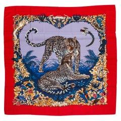 New in Box Hermès Cashmere Jungle Love Red Shawl